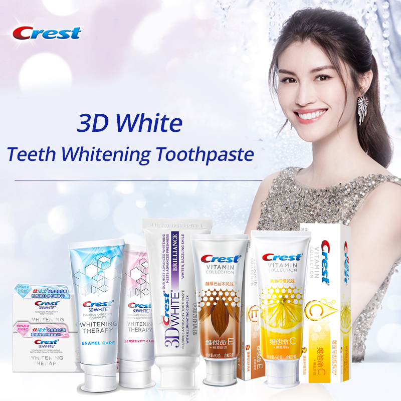 Crest 3D White Toothpaste Teeth Whitening Brilliance Sensitivity Enamel Care Vitamin Collection Gum Care Remove Teeth Stain