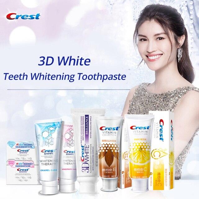 Cresta 3D blanco pasta de dientes Blanqueamiento Dental brillo sensibilidad esmalte importa vitamina colección goma importa quitar dientes mancha