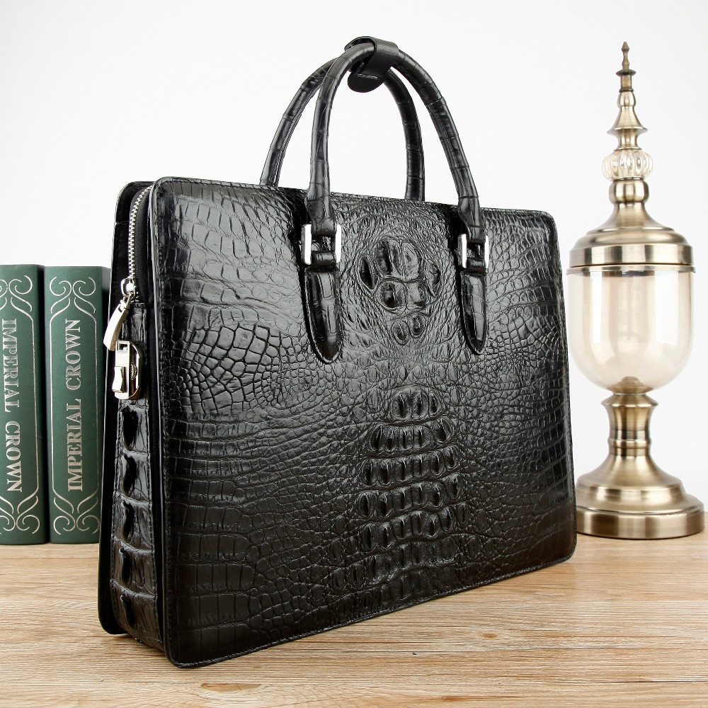 Newly Code Locker Clouse Men's Genuine/Real 100% Crocodile Head Skin Men Bag Briefcase Business Document Papers Bag Black Brown