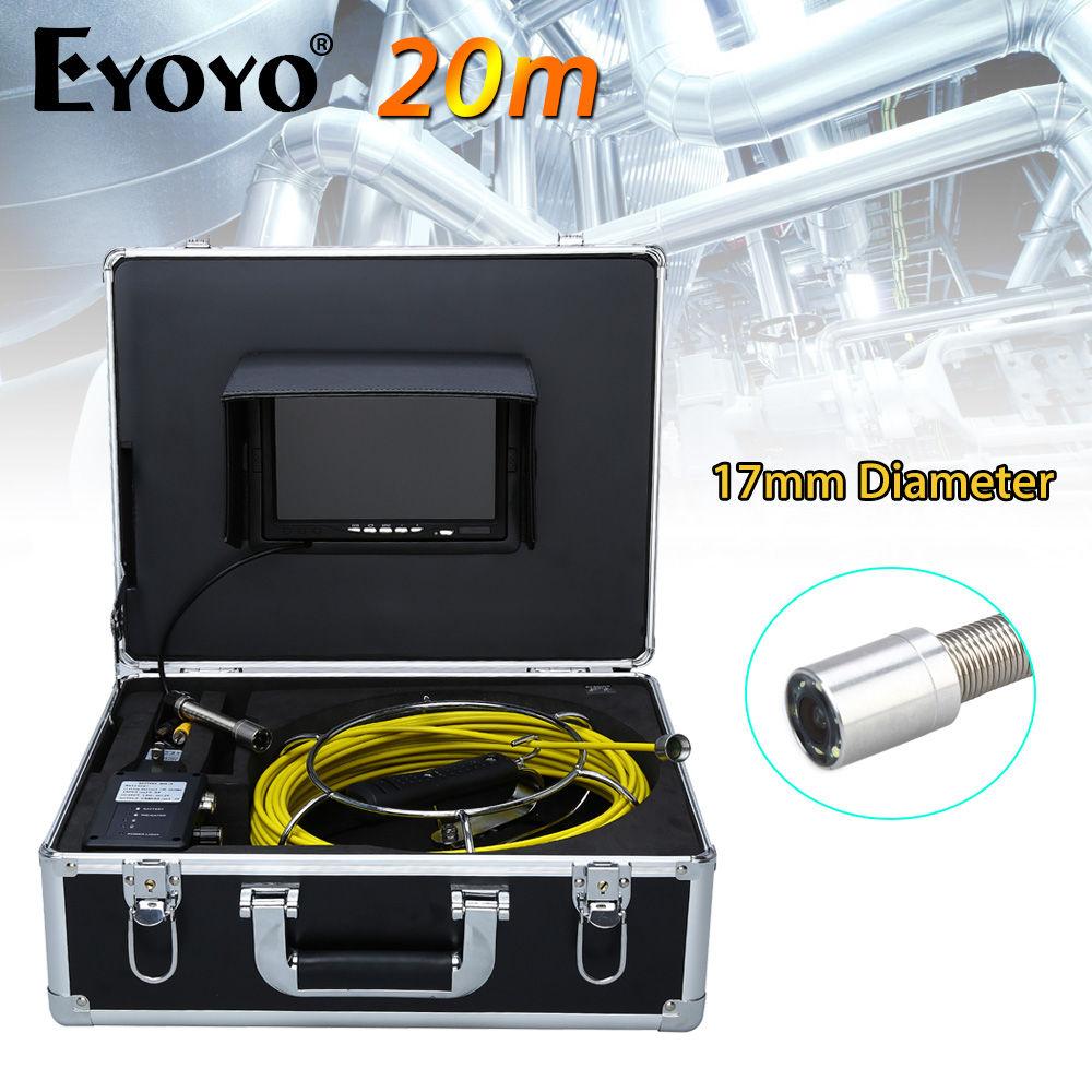 Eyoyo 20M 7 LCD  TFT HD 17mm Endoscope Drain Inspection Sewer Video Camera CCTV CMOS 1000TVL Snake Inspection 6PCS White LEDS