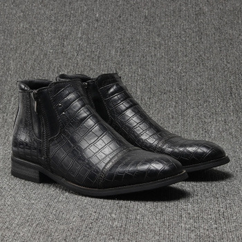 Shoes Men Genuine Leather Boots New Black Autumn Winter Shoes DA150