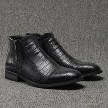 Мужская обувь из натуральной кожи, новые черные осенне-зимние ботинки, DA150