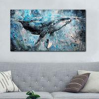 מודולרי ציור קיר פוסטר קריקטורה צבע דיגיטלי על ידי מספרים musculus Balaenoptera תמונות לסלון לווייתן גדול כחול
