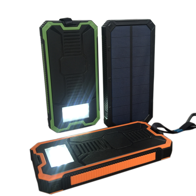 10000mAh Solar Power Bank Bateria External Solar Quick Charger Travel Powerbank Portable Solar Panel with LED Lights for S8/iP8