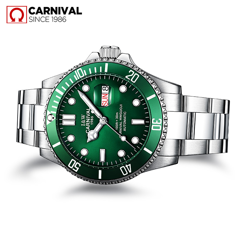Hot Sale CARNIVAL Mens Watches Top Brand Luxury Sapphire Glass waterproof Automatic Mechanical Watch Men Sport Role Style Watch зимняя шина kumho i zen kw31 265 65 r17 116r xl