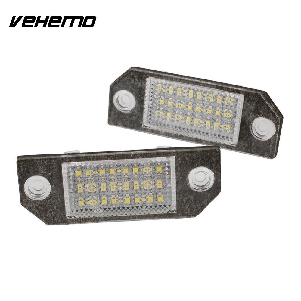Vehemo 2Pcs 12V White 24 LED Car Number License Plate Light Lamp for Ford Focus C-MAX MK2 2pcs car led license number plate light lamp 6w 12v 24 led white light for ford focus 2 c max