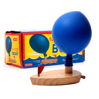 Children Fun Balloon Powered Wooden Boat Baby Water Bath Toys Box Packing Kids Children Classic Wood