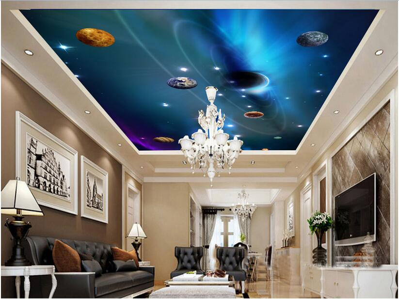 3d wallpaper custom photo non-woven starry sky Ceiling mural home decoration painting picture 3d wall room murals wallpaper custom 3d stereo ceiling mural wallpaper beautiful starry sky landscape fresco hotel living room ceiling wallpaper home decor 3d