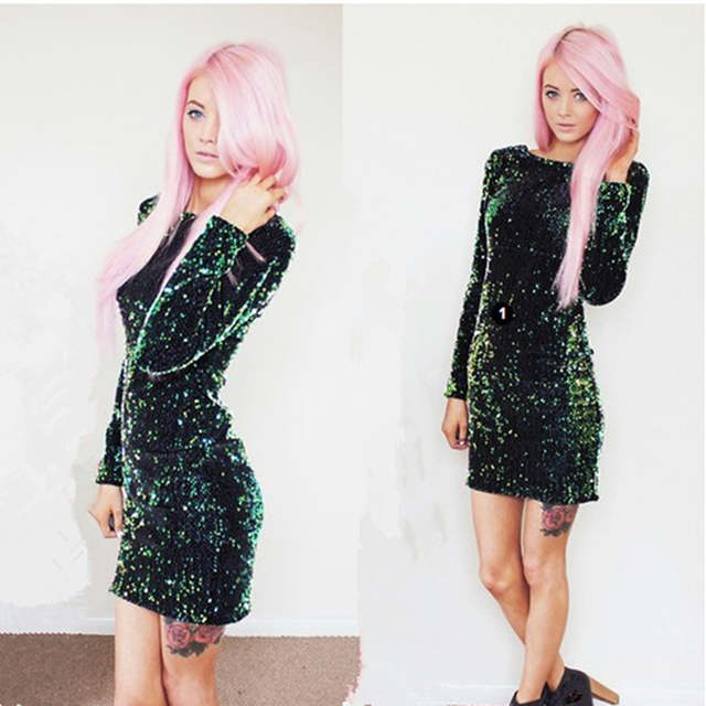 162b03ed44 US $11.99 15% OFF|Green Sequin Dress Women Sexy Club Dresses 2019 Slim Fit  Backless Bodycon Party Nightclub Mini Vintage Dress vestido lentejuelas-in  ...