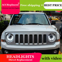 car styling For Jeep Liberty headlights U angel eyes 2013 2015 For Jeep Liberty LED light bar Q5 bi xenon lens LED Bulb
