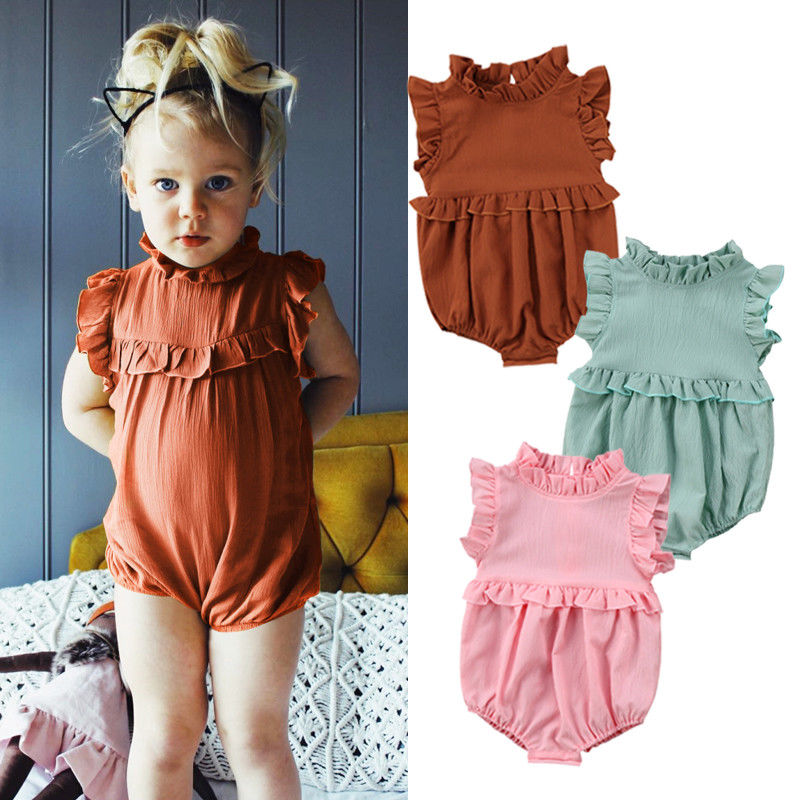Newborn Baby Girl Romper Bodysuits Cotton Flutter Sleeve One-Piece Romper Outfits Clothes Toddler Ruffled Collar Sleeveless Romper Jumpsuit Clothes Green