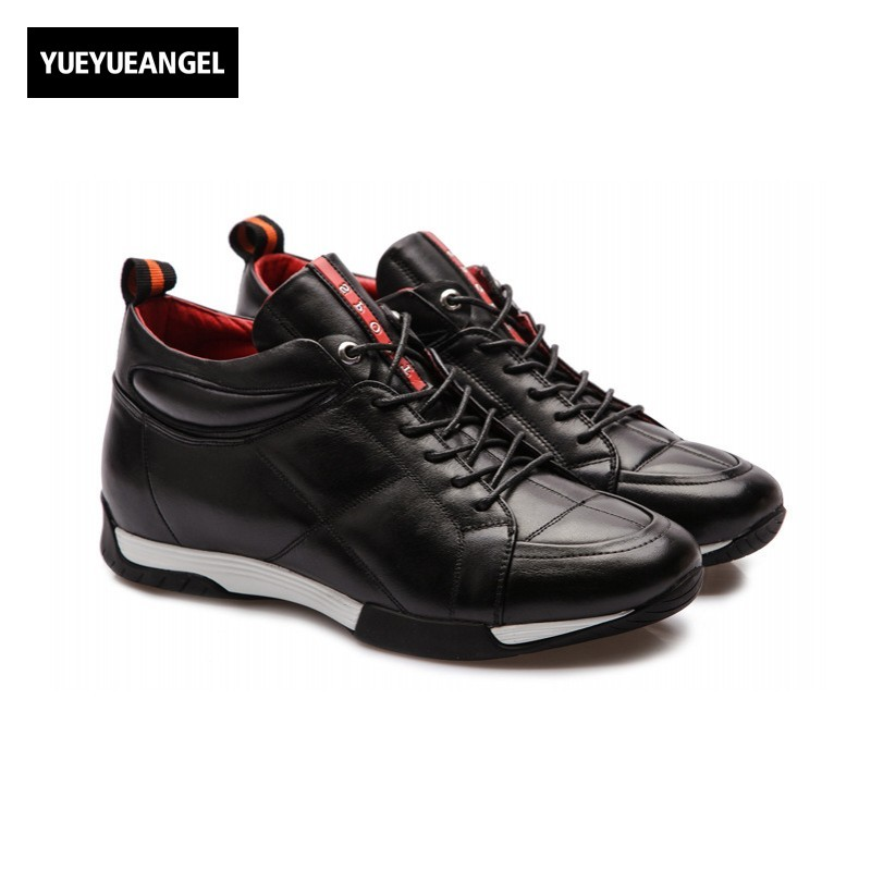 2018 New Arrival British Style Fashion Men Shoes Comfort Breathable Genuine Leather Casual Hidden Heel Shoes 6CM Lace Up Black gram epos men casual shoes top quality men high top shoes fashion breathable hip hop shoes men red black white chaussure hommre