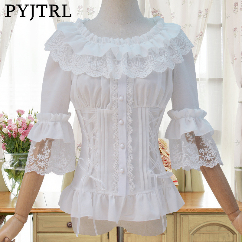 PYJTRL Sweet Lolita Summer Autumn 1/2 Horn Sleeve Chalaza Slim Fit White Lace Blouse Vintage Chemise Femme Blouses Women Shirts