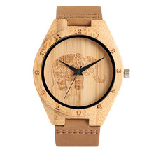 Fashion Unique Mens Quartz-watch Natural Handmade Wood Wrist Watch Male Elephant Design Sports Watches relogio masculino 2017