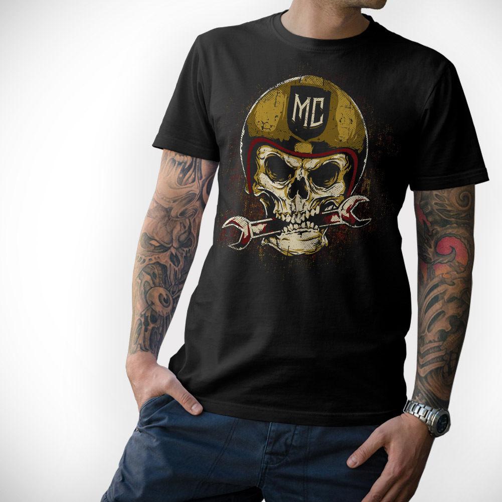 Moda Casual Cool T Shirts MOTOCICLISTA T-Camisa-CRÂNIO-Motorrad Moto Totenkopf MC S M L XL XXL 3XL 4XL 5XL Tee Verão Camisa