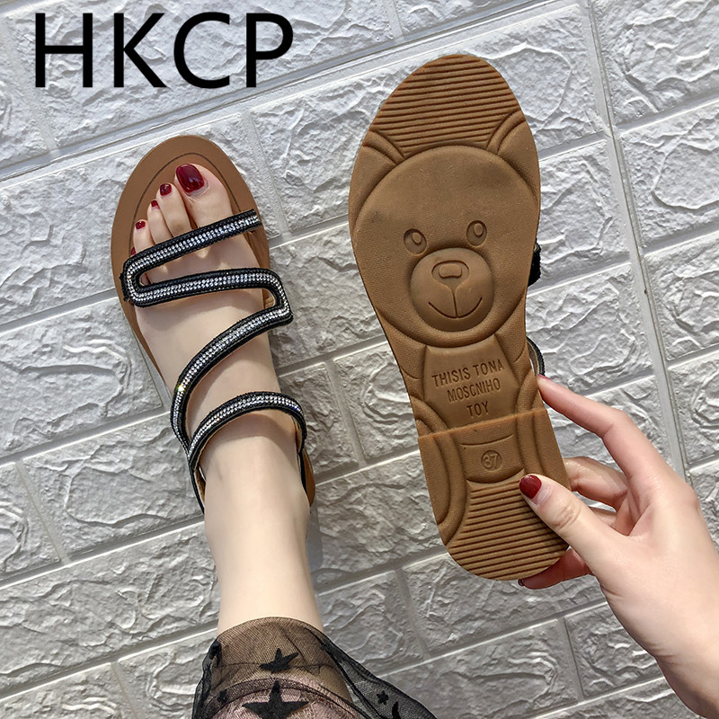 HKCP Fashion Womens summer 2019 womens slipper rhinestone sandals with new clip-on Roman slippers C152