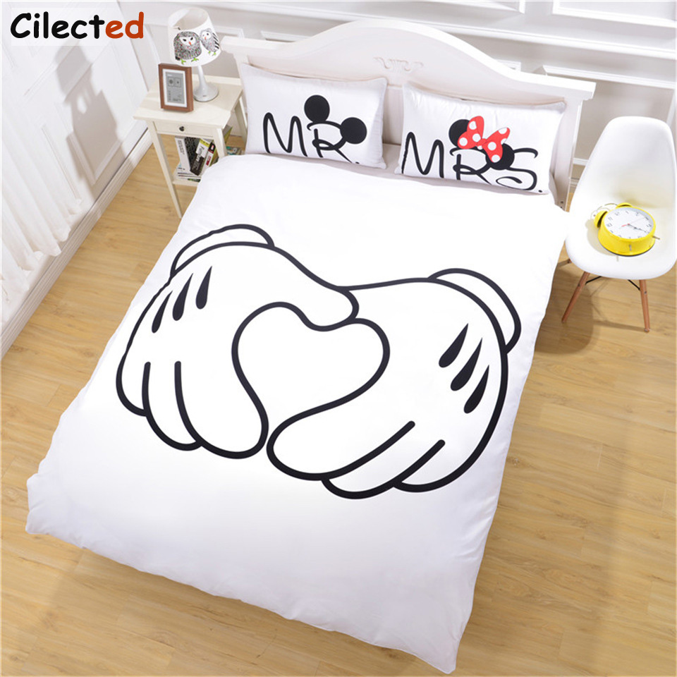 cute couples bedding promotionshop for promotional cute couples  - cilected white cute cartoon bedding set mr  mrs home textiles soft duvetcover and pillowcases pcs for couple drop shipping