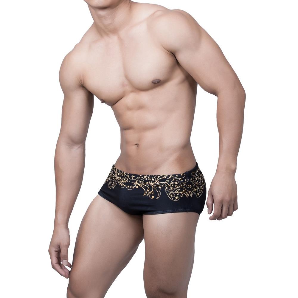 New Swimwear Floral Men's Swimming Trunks for Sunbath Low Waist Sexy Swim Shorts Men's Swimsuit Hot