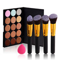 15 Color Concealer+Sponge Puff+4Pcs Makeup Brushes Eye Shadow Foundation Brush Face Cream Contour Palette Cosmetics Tool Kit