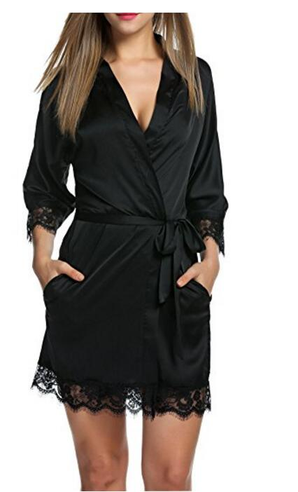 Ladies Contrast Lace Satin Robe 2018 New Fashion Sexy Women Clothes Spring Blue Half Sleeve Plain Night Robe