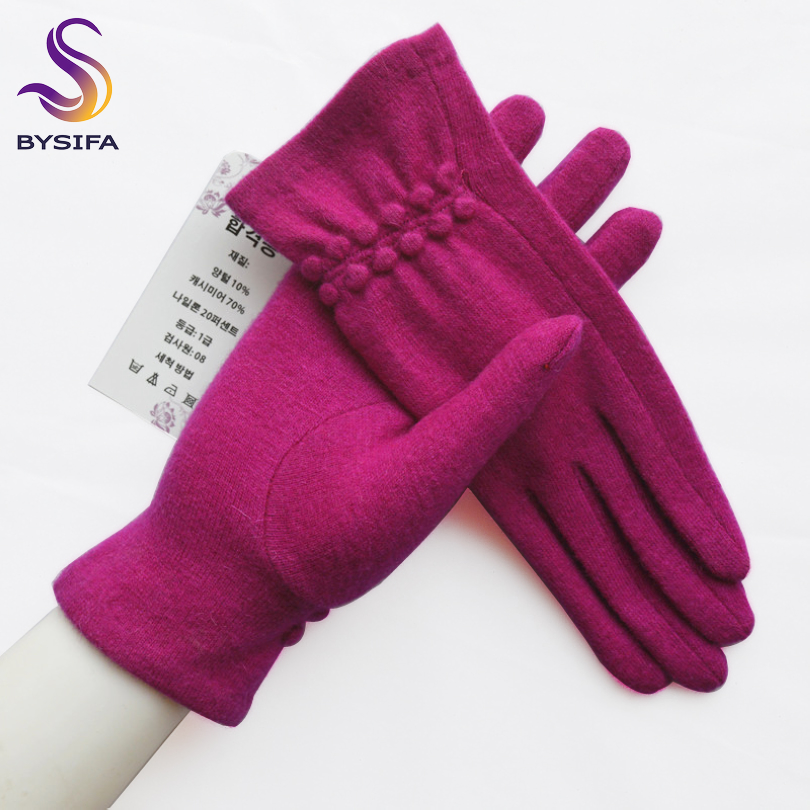 [BYSIFA] Winter Women Wool Gloves New Thick Warm Touch Screen Ladies Gloves Spring Autumn Soft  Elegant Hot Pink Mittens Gloves