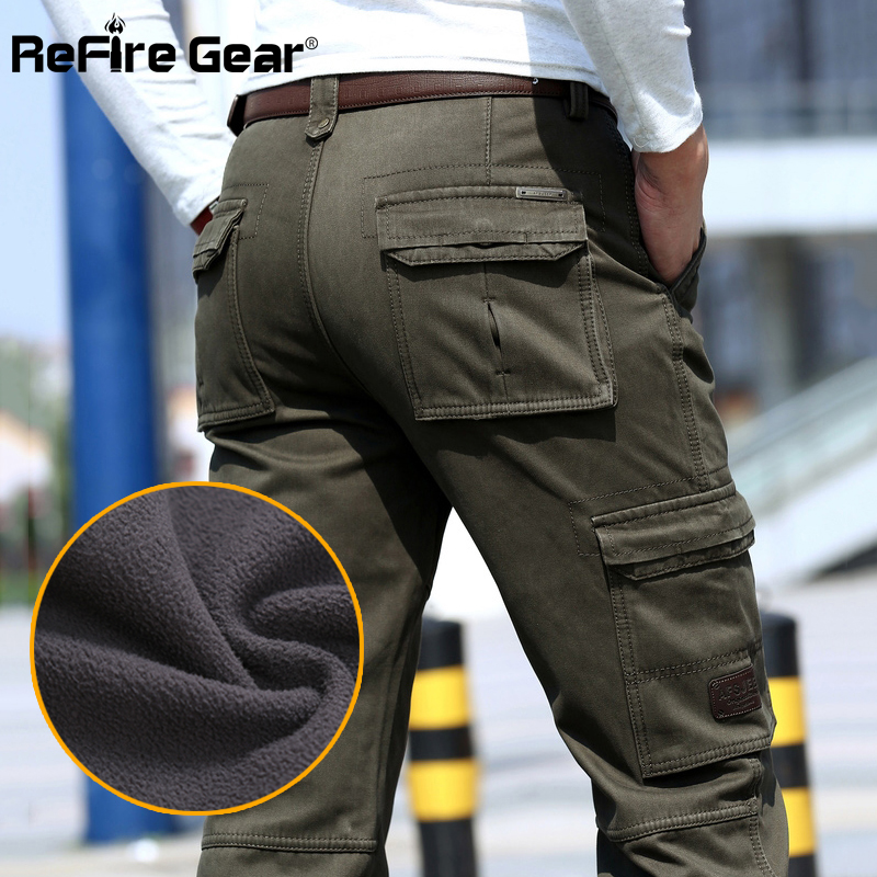 ReFire Gear Warm Winter Cargo Pants Men Military Tactical Pants Straight Thick Fleece Cotton Army Trousers Male Casaul Clothing