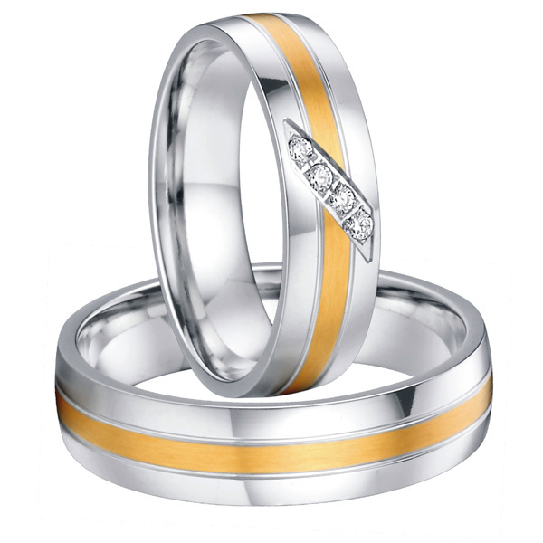 Custom Bridal Pair his and hers titanium steel wedding band rings sets for couples gold color alliances anel anel de prata his and hers rings white gold plating pure titanium engagement wedding bands rings 2014