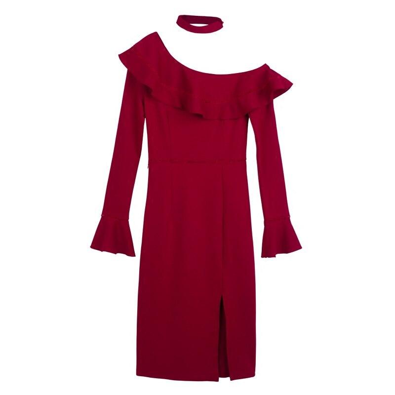 6d28a6f9b86c Wine Abiti Donna Inverno Matita Manica 8239 Dress Donne Ruffles Red 2017  Lunga Farfalla Alta Autunno ...