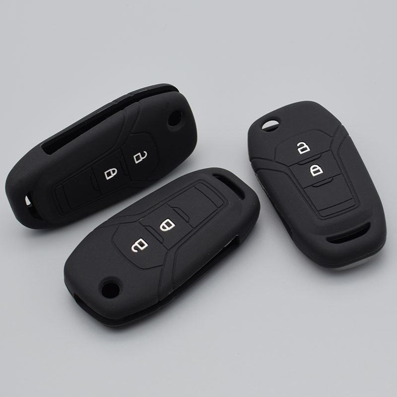 Silicone Rubber Key Cover Case For Ford Fusion 2014 Mondeo EVEREST Ecosport Ranger Escape Flip Folding 2 Buttons Key Protect