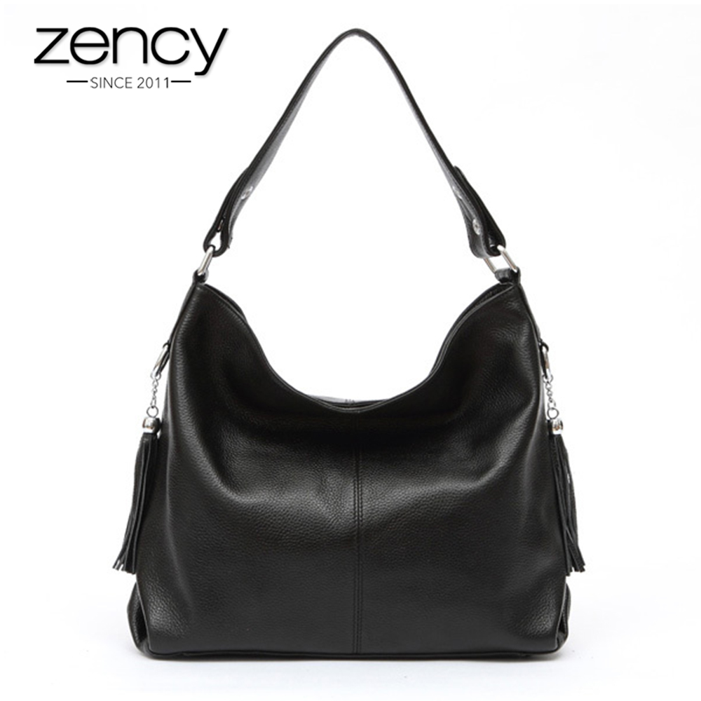 2018 New Fashion Soft Real Genuine Leather Tassel Women's Handbag Ladies Shoulder Tote Messenger Bag Purse Satchel Black White new fashion women girl student fresh patent leather messenger satchel crossbody shoulder bag handbag floral cover soft specail