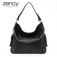 Soft Real Genuine First Layer Cow Leather Office Lady Woman Handbag Tote Bag 2 Tassel Free