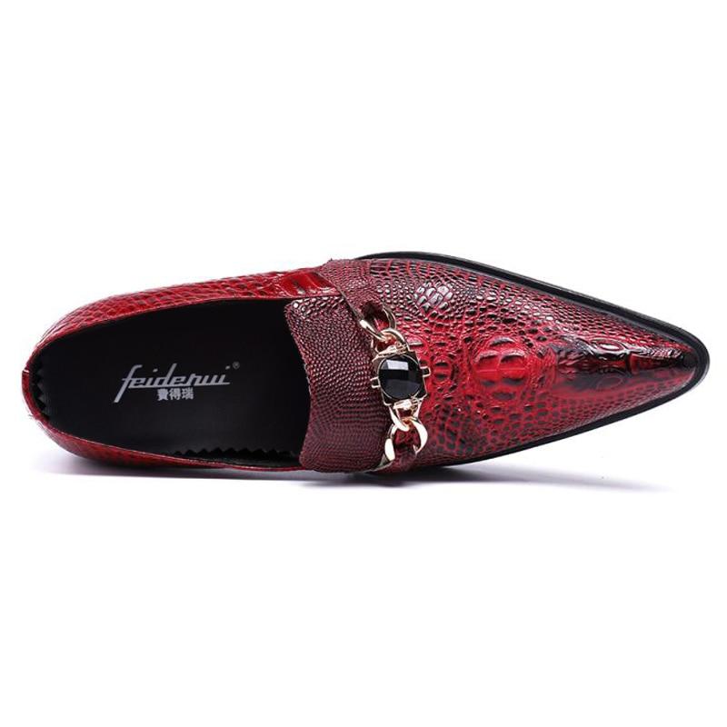 Pie Cocodrilo Rojo Más Punta Mocasines Dedo Auténtico Boda Hombre Rhinestone Cuero Lujo Zapatos Tamaño Hombres De Deslizamiento Sl100 Del En Pista YwqYvS