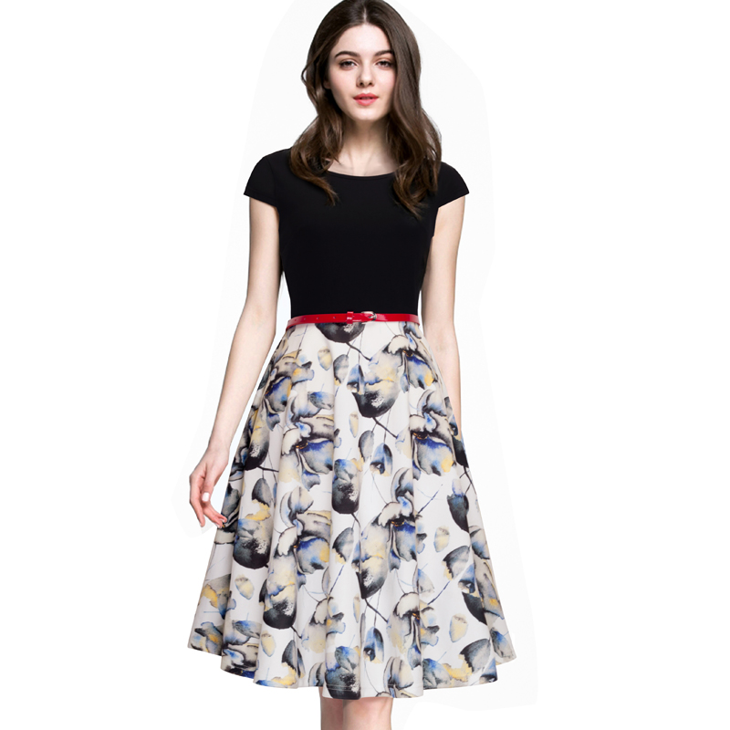Buy Cheap New Summer Fashion Women Tropical Swing A-line Dresses Elegant Short Sleeve Round Neck Fresh Floral Print Patchwork Dress A009