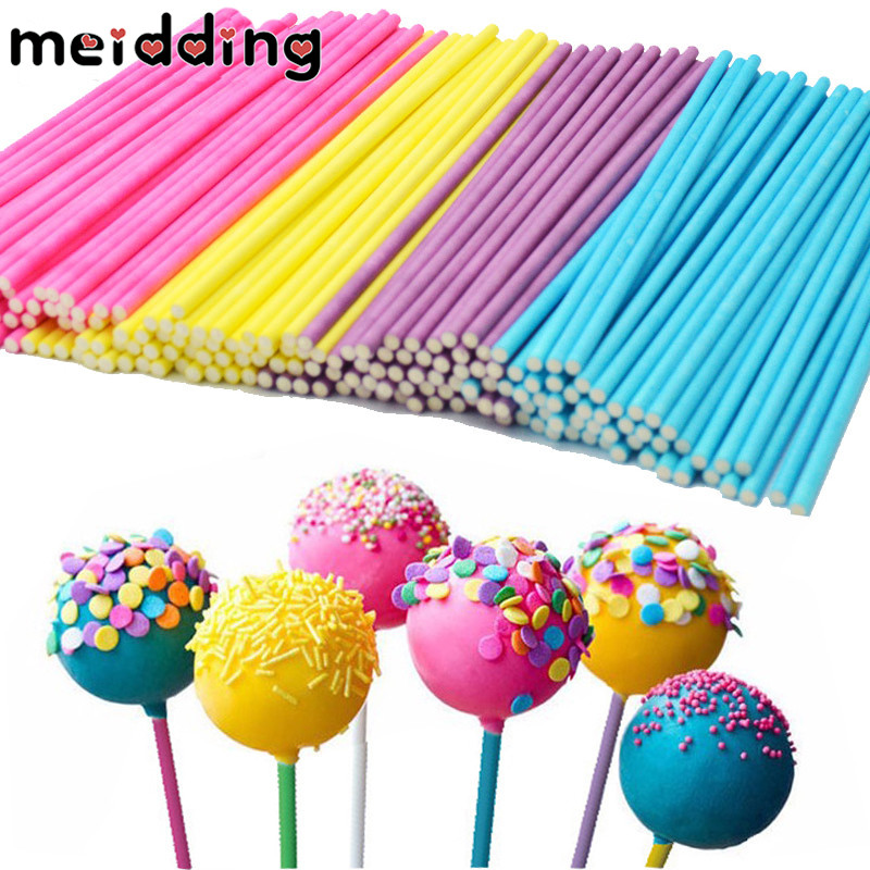 MEIDDING 100pcs/Set 5colors Optional Food Grade Paper Lollipop/Cake/Dessert Pop Sticks DIY Baby Shower Wedding Gifts Supplies ...