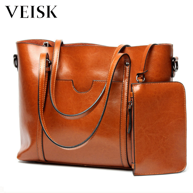 VEISK Brown Handbags Women Bags Designer Solid Women's Leather Handbags Big Casual Tote Bag Ladies Shoulder Bag Woman Double sannen 7l double decker cooler lunch bags insulated solid thermal lunchbox food picnic bag cooler tote handbags for men women