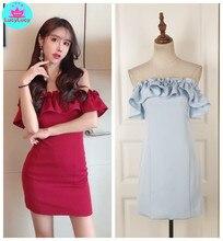 2019 summer new Korean version of the tight-fitting sexy word shoulder dress   Off the Shoulder  Knee-Length  Slash neck mesh shoulder form fitting dress