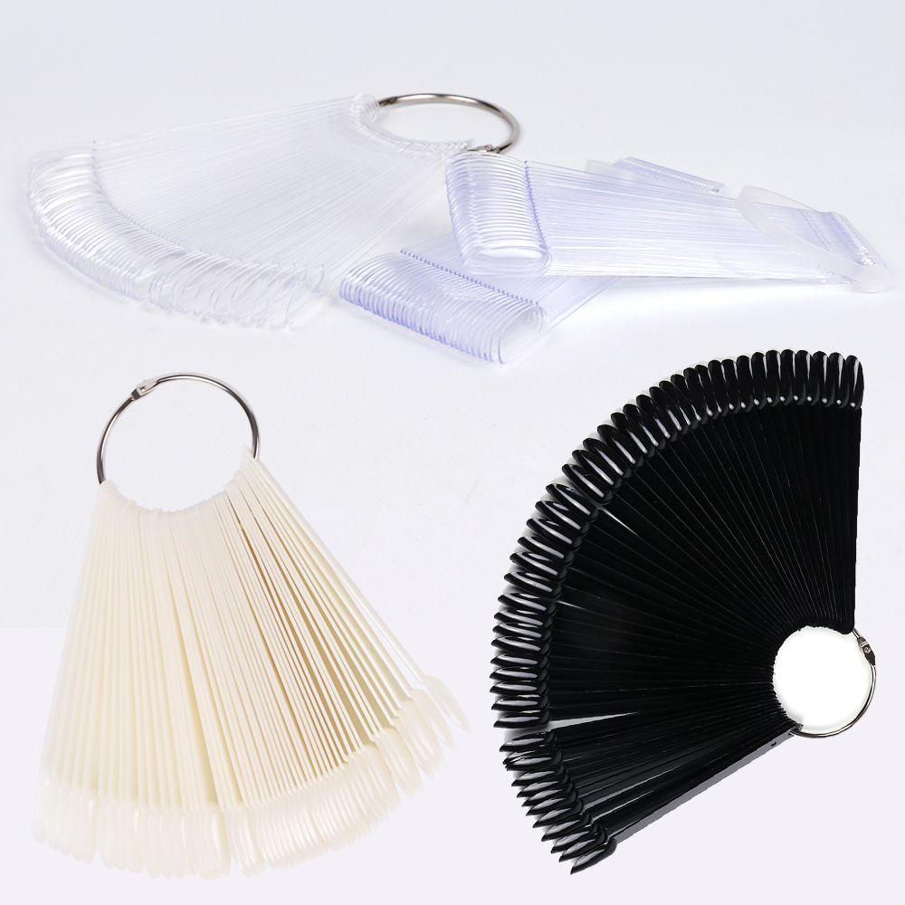 1set False Nails Display Tips Clear Black Natural Color Card Fan Style Full Cover Practice Tips Polish Shows Manicure Tool TRA23