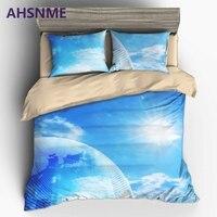 AHSNME Mundo Futuro de Ciencia Ficción de La Tierra y el Sol del lecho lujo EE. UU. Australia Europa Tamaño Cover Set 3D de cama Estampada conjuntos