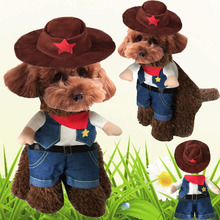 Cosplay Cowboy Coat Dog Clothes For Small Dogs Winter French Bulldog Jacket Standing Dog Halloween Costume Chihuahua Pet Clothes