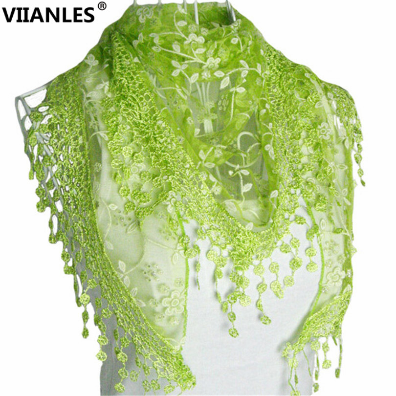 VIIANLES Lace Scarf Women Embroidery Fashion Sheer Triangle Scarf Funky Paillette Neck Sequins Scarves Hot Sale Floral Scarves