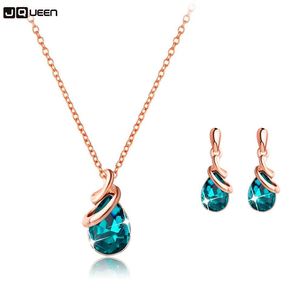 Fashion Women Wedding Gold Jewelry Set Crystal Earring Necklace Pendant Rhinestone New Suit Ear Stud 2018 Best Selling
