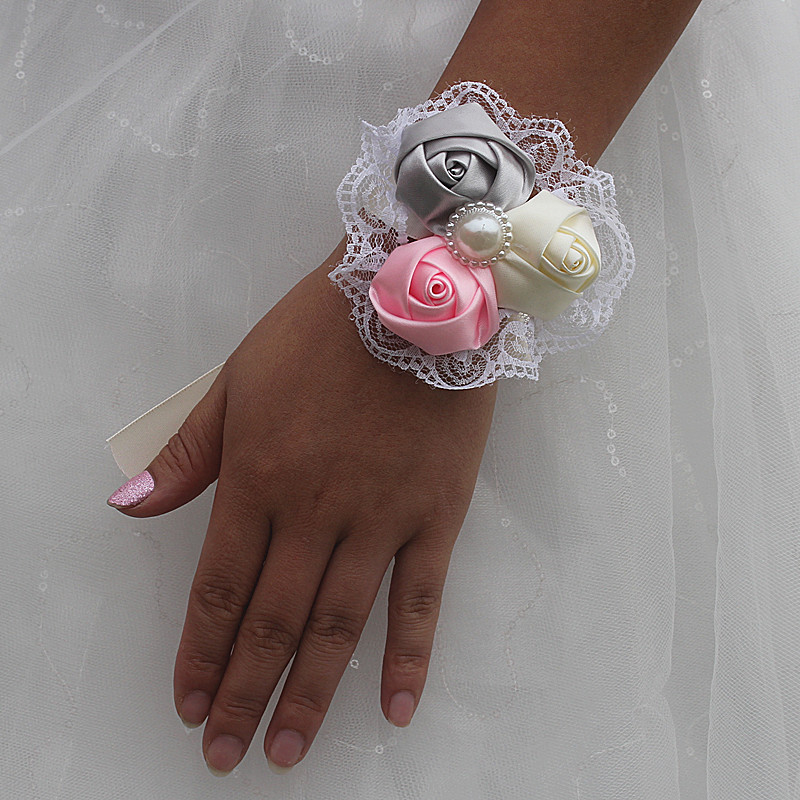 Ivory Pink Silver 3 Rose Flower Wedding Wrist Flower Bridesmaid Silk Rose Corsages De Mariage Artificial Flower Sw59412 Soft And Antislippery Home & Garden Festive & Party Supplies
