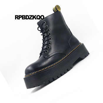 Shoes black Genuine patent Leather Combat Autumn Brand Women Winter Boots Flat Wine Red Platform Lace Up Ankle thick heels plus