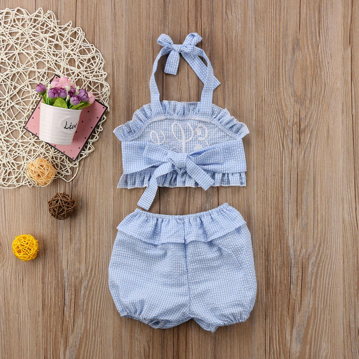 1190b67b8ee ... Baby Girls Kids Two-Piece Toddler Bathing Bare Belly Sleeveless  Backless Plaid Suits Summer Beach