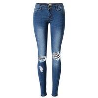 Gorące Kobiety Panie Zgrywanie Bleach Kolana Skinny Jeans denim spodnie, niebieski