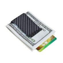 Billetera con Clip de fibra de carbono auténtica minimalista para billetes, tarjetero, Clips para hombre y mujer, Clip portátil para dinero, soporte de fibra de carbono