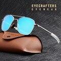 Мужские солнцезащитные очки в стиле милитари, синие зеркальные очки-авиаторы с поляризационными стеклами