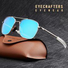 Óculos de sol masculino estilo aviador, óculos de sol de marca de piloto militar do exército americano, óculos de sol polarizados com lentes azuis, espelhados