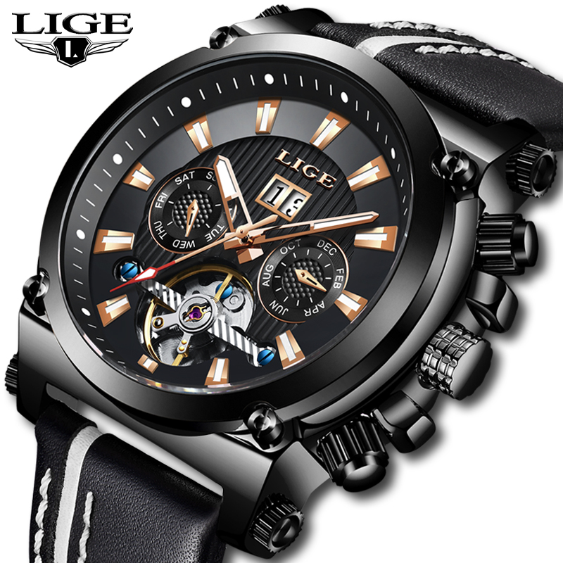 LIGE Mens Watches Top Brand Luxury Clock Automatic Mechanical Watch Men Business Waterproof Sport Wrist Watch Relogio Masculino-in Mechanical Watches from Watches