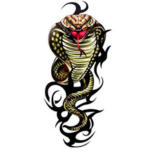 Domineering Black Fire Flame Cobra Temporary Tattoos Indian Snake Arm Back Leg Wrist Sticker Tribal Totem AX11